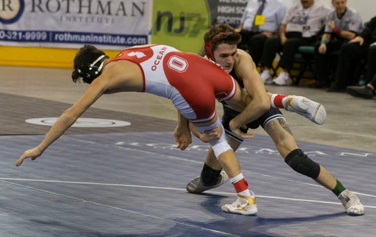 Emerson/Park Ridge's Luke Mazzeo vs Ocean Township's Jack Nies in their 132 lbs. bout. NJSIAA State Wrestling opening rounds in Atlantic City, Thursday February 28, 2019