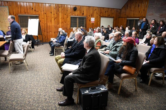 Roland Weimer, a Leonia homeowner, speaks in opposition to eminent domain during a Leonia Planning Board meeting on Wednesday, February 27, 2019. The borough is conducting a study about redevelopment and is considering using eminent domain.