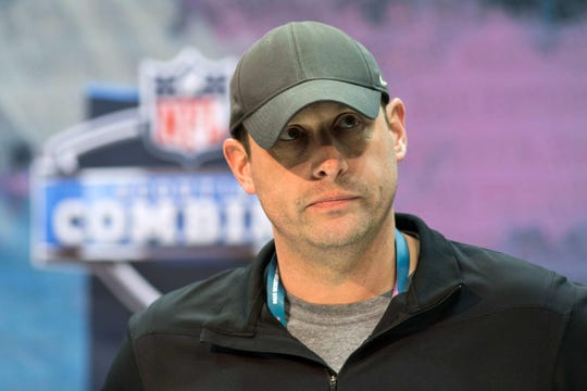 Feb 27, 2019; Indianapolis, IN, USA; New York Jets head coach Adam Gase speaks to media during the 2019 NFL Combine at Indianapolis Convention Center. Mandatory Credit: Trevor Ruszkowski-USA TODAY Sports