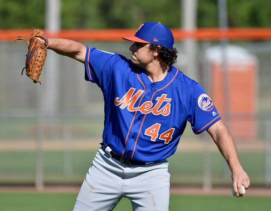 Feb 15, 2019; Port St. Lucie, FL, USA; New York Mets starting pitcher Jason Vargas (44) during spring training at First Data Field.