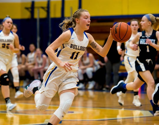 Butler senior Melissa Konopinski (11) earned First Team All-NJIC Liberty honors along with junior teammate Kaysey Scott after leading the Lady Bulldogs to its best season in the last 10 years.
