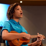 """Abbey Charity, a 7th grader at Lynn Middle School, sings and plays the ukulele before Mayor Ken Miyagishima's """"State of the City"""" address on Thursday, Feb. 28, 2019."""