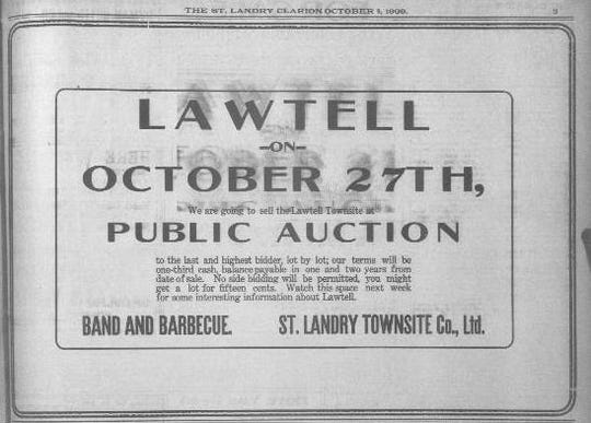 1909 advertisement about land auction for Lawtell