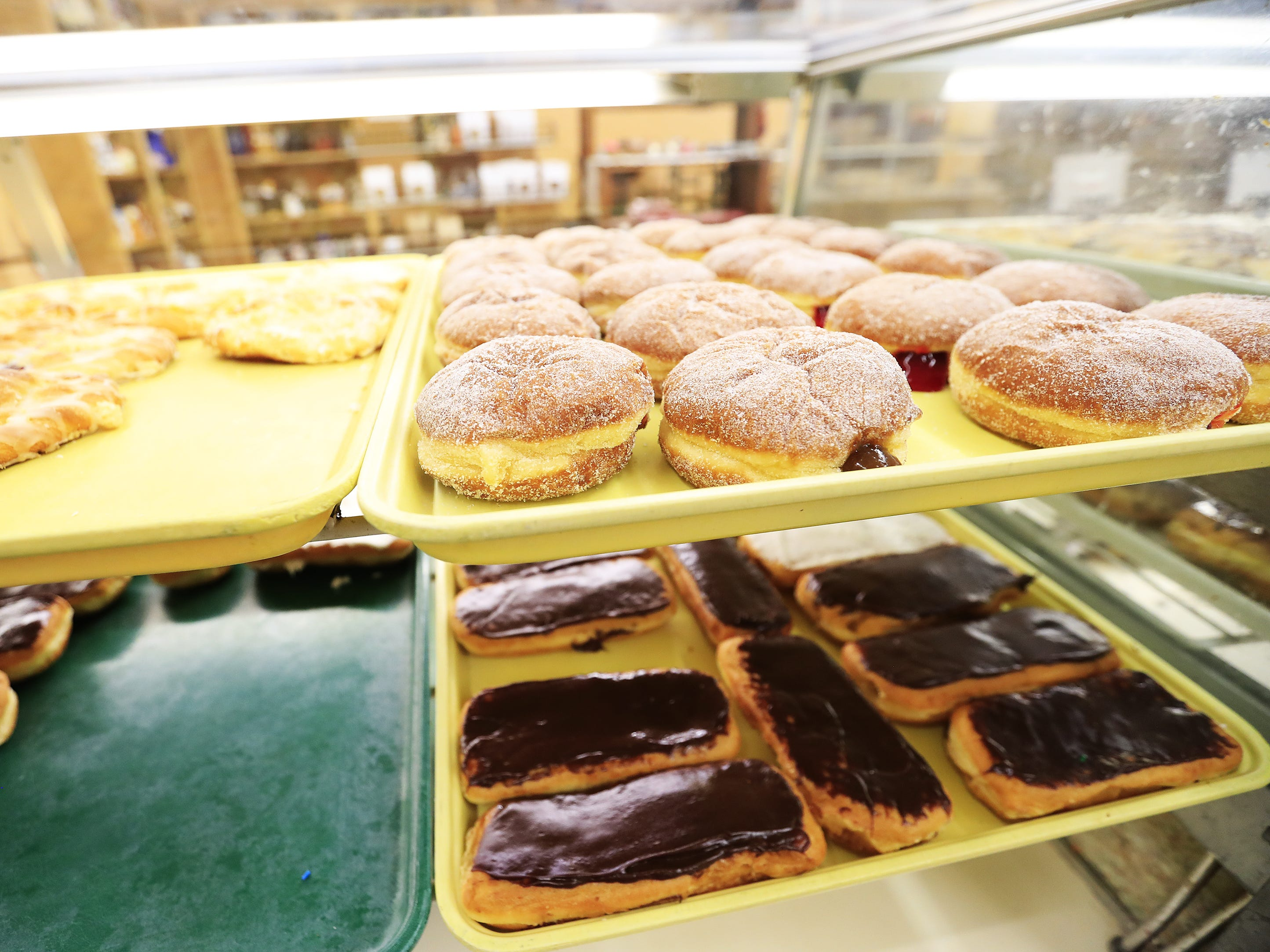 Paczki in the display case at Smurawa's Country Bakery are shown on Tuesday, Feb. 26, 2019, in Pulaski.
