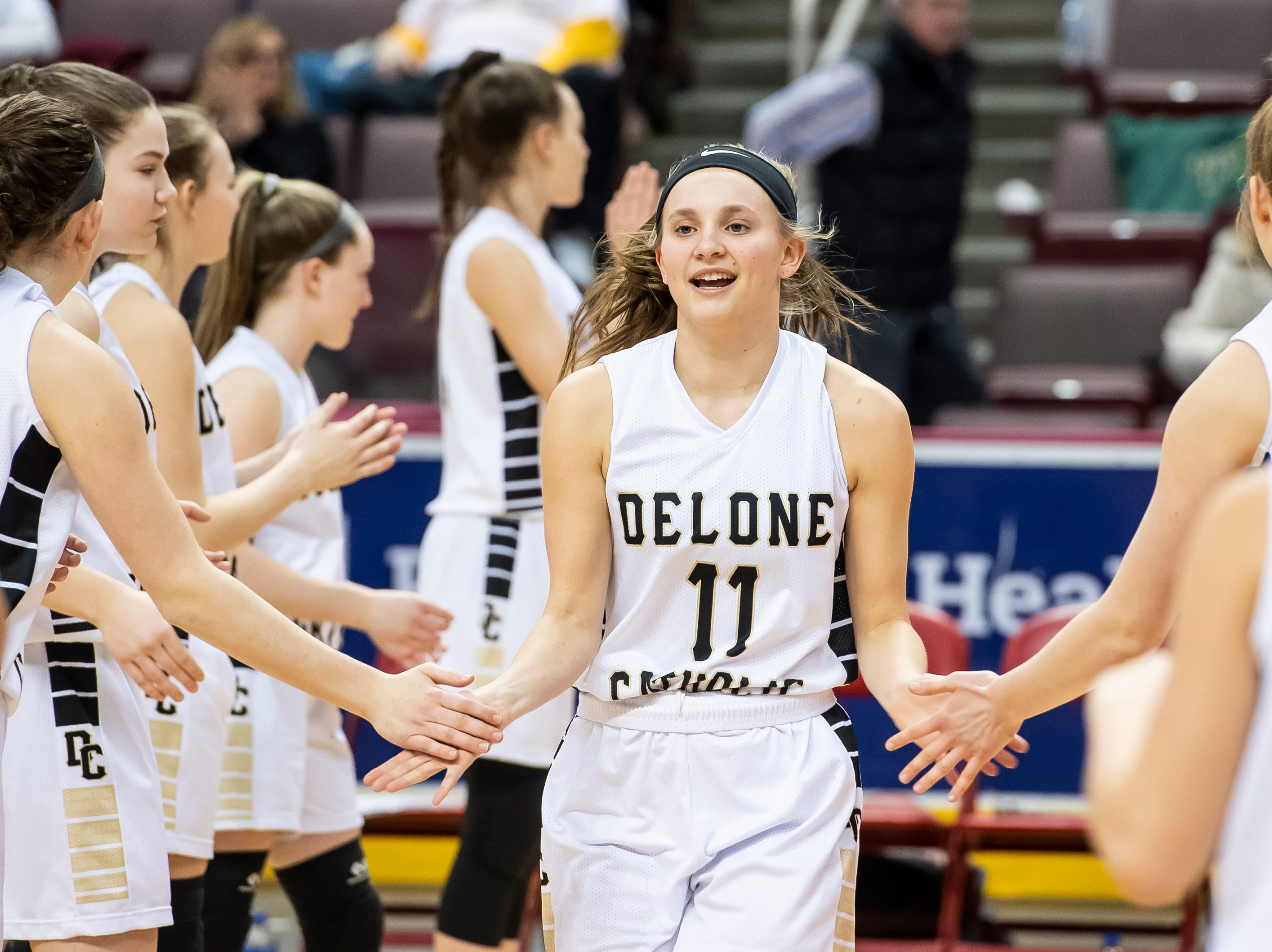 Delone Catholic's Riley Vingsen is introduced during the starting lineups before the District 3 3A girls championship game against Trinity at the Giant Center in Hershey Wednesday, Feb. 27, 2019. The Squirettes fell 44-33.