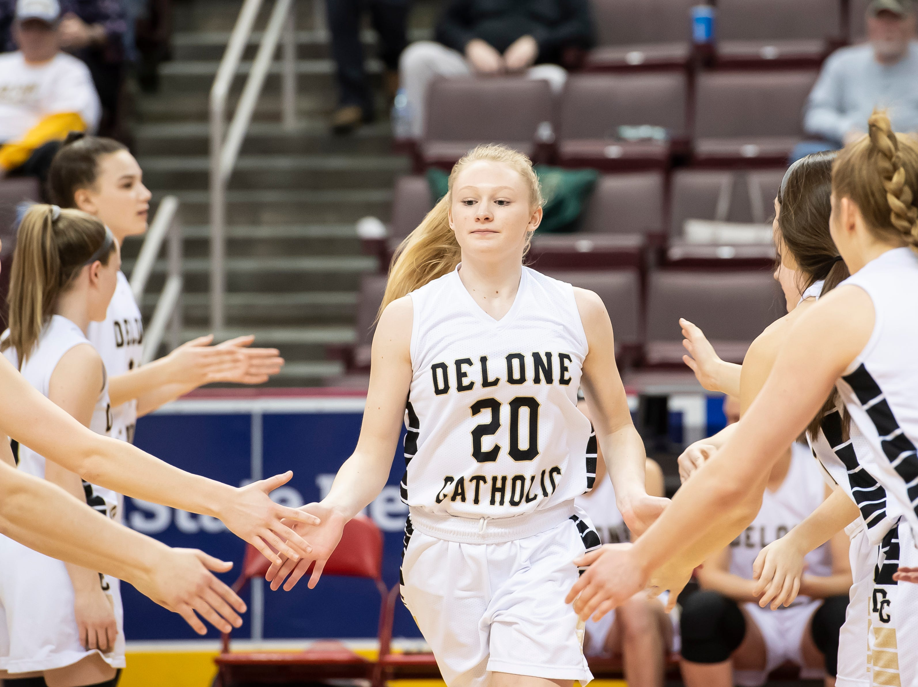 Delone Catholic's Brooke Lawyer is introduced during the starting lineups before the District 3 3A girls championship game against Trinity at the Giant Center in Hershey Wednesday, Feb. 27, 2019. The Squirettes fell 44-33.
