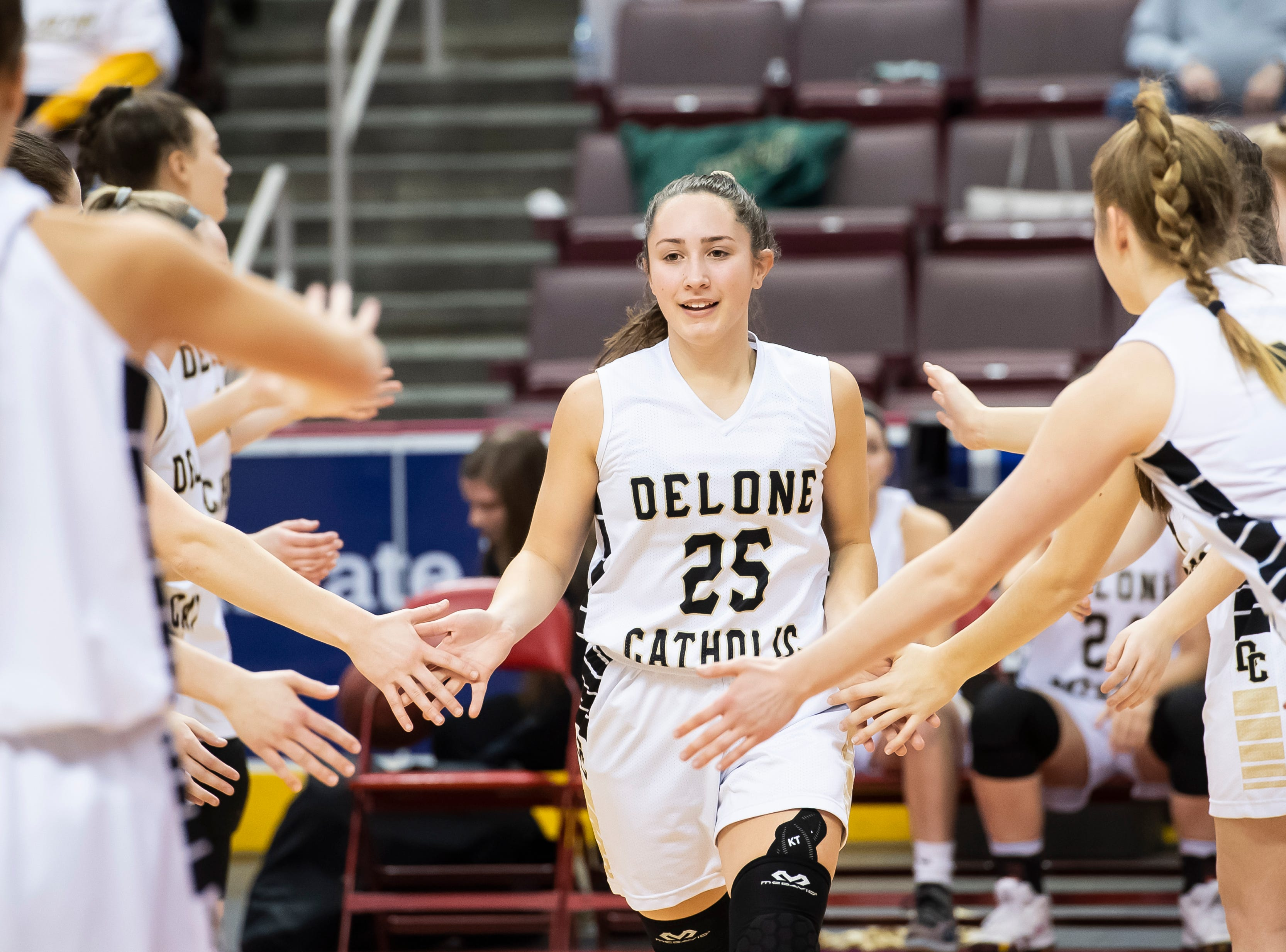 Delone Catholic's Camryn Felix is introduced during the starting lineups before the District 3 3A girls championship game against Trinity at the Giant Center in Hershey Wednesday, Feb. 27, 2019. The Squirettes fell 44-33.