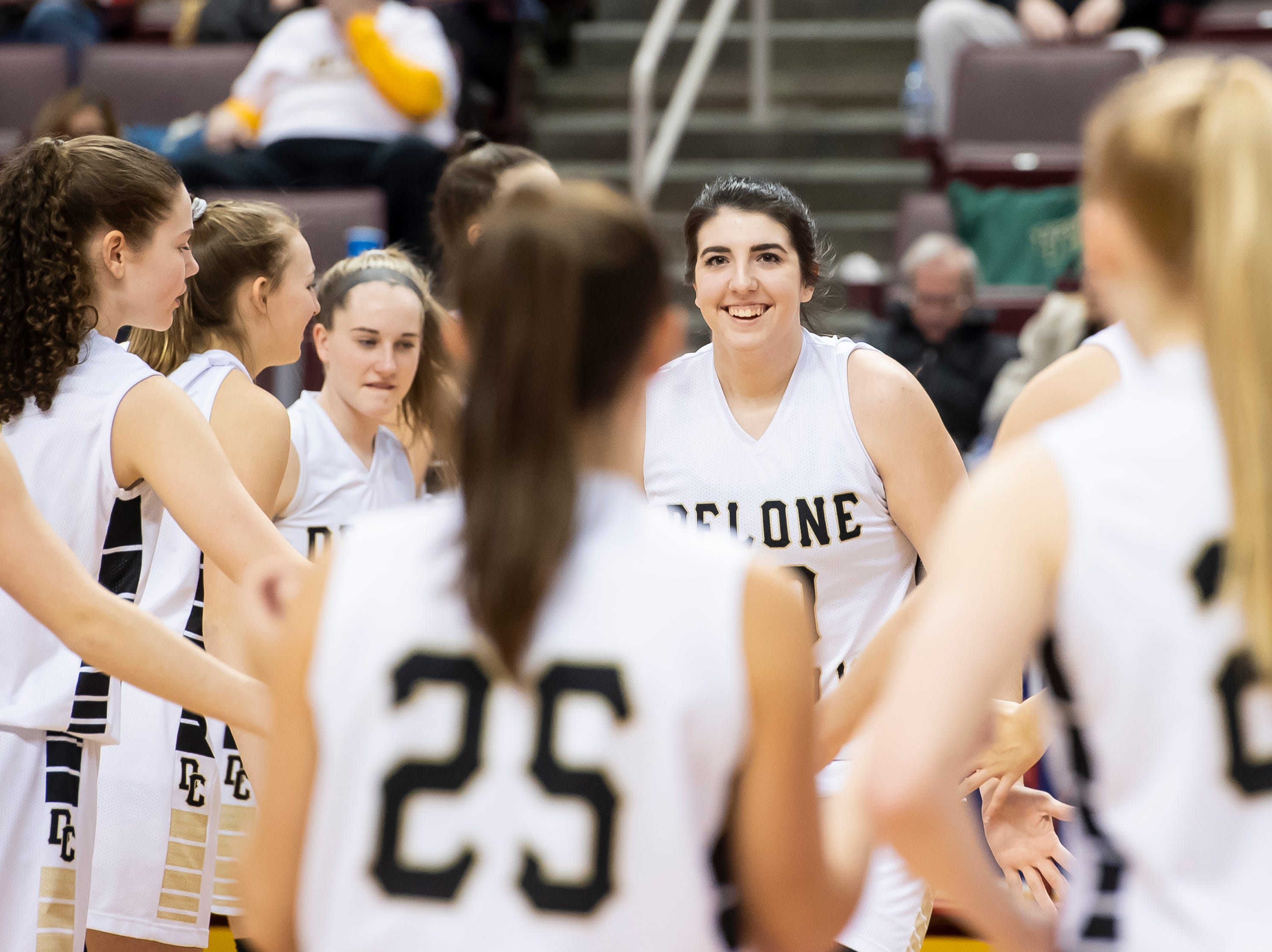 Delone Catholic's Bradi Zumbrum is introduced during the starting lineups before the District 3 3A girls championship game against Trinity at the Giant Center in Hershey Wednesday, Feb. 27, 2019. The Squirettes fell 44-33.