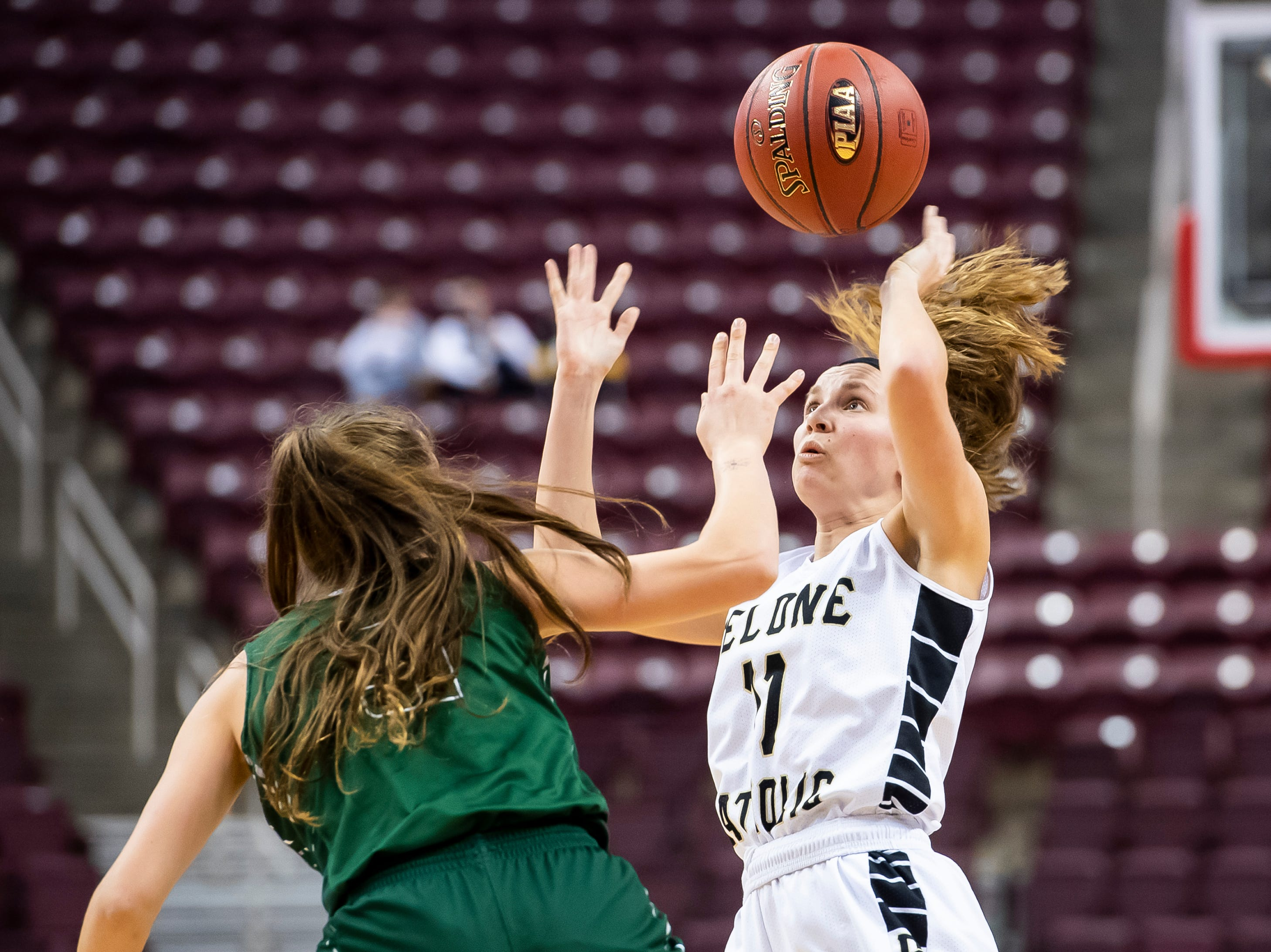 Delone Catholic's Riley Vingsen maintains possession as Trinity's Braylee Fetterolf tries to make a steal during the District 3 3A girls championship game at the Giant Center in Hershey Wednesday, Feb. 27, 2019. The Squirettes fell 44-33.