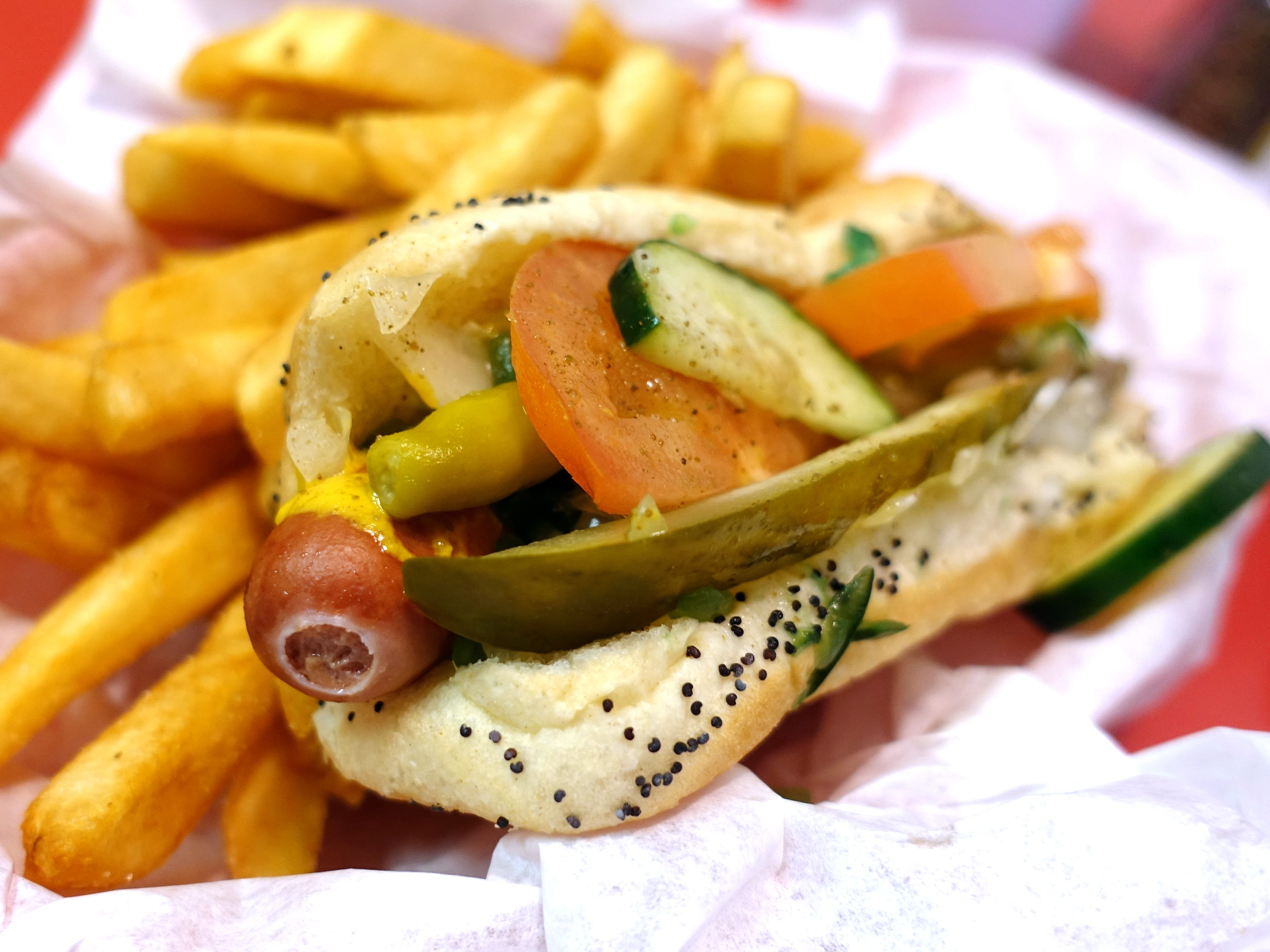 Traditional Chicago hotdog at Chicagoland Hotdogs & More in Mesa.