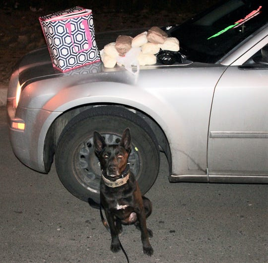 A K-9 detected 10 pounds of methamphetamine and 500 blue fentanyl pills.