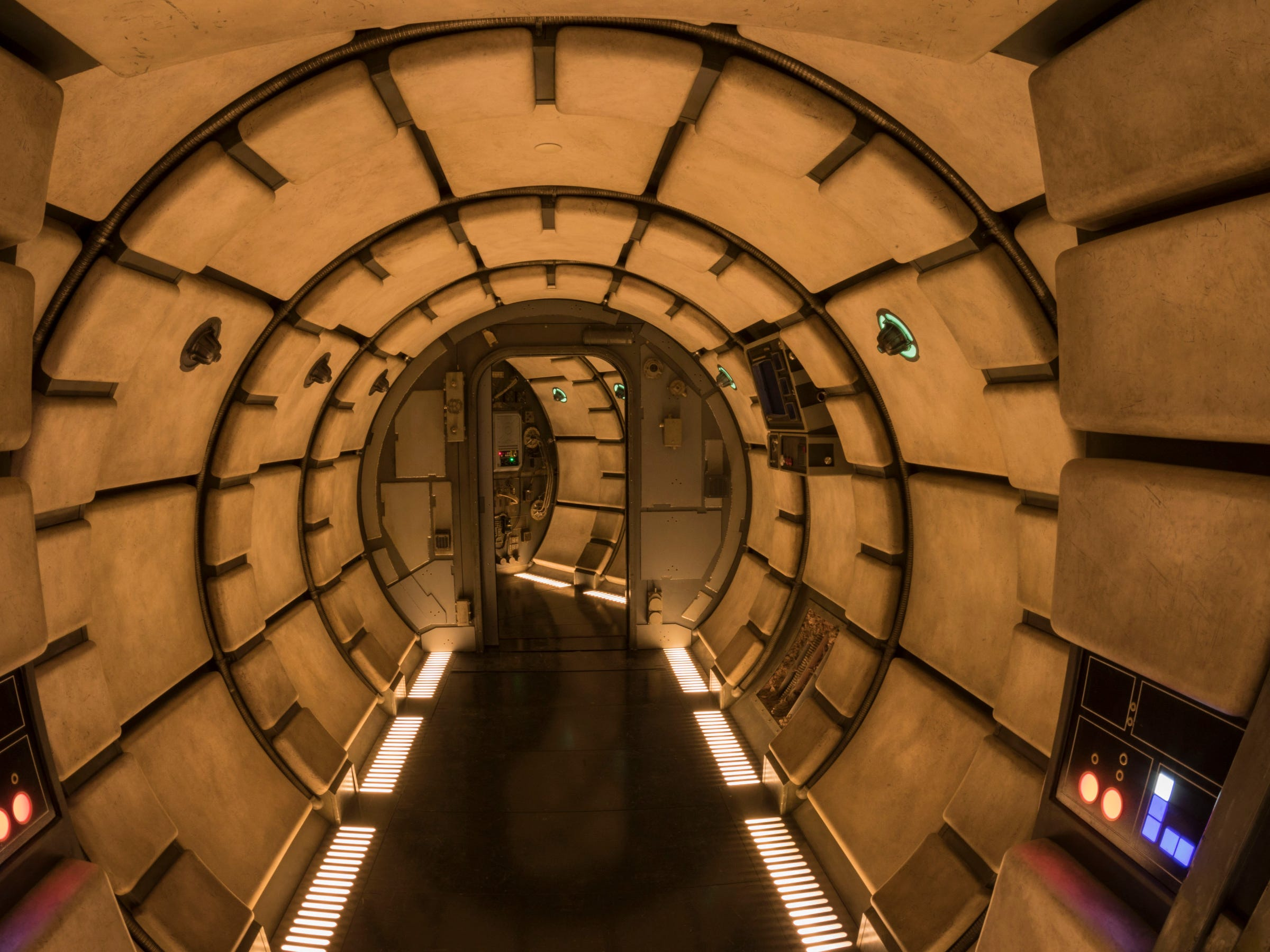 Millennium Falcon: Smugglers Run in Star Wars: Galaxy's Edge will let Disney guests walk the hallways and experience other memorable areas of the fastest ship in the galaxy.