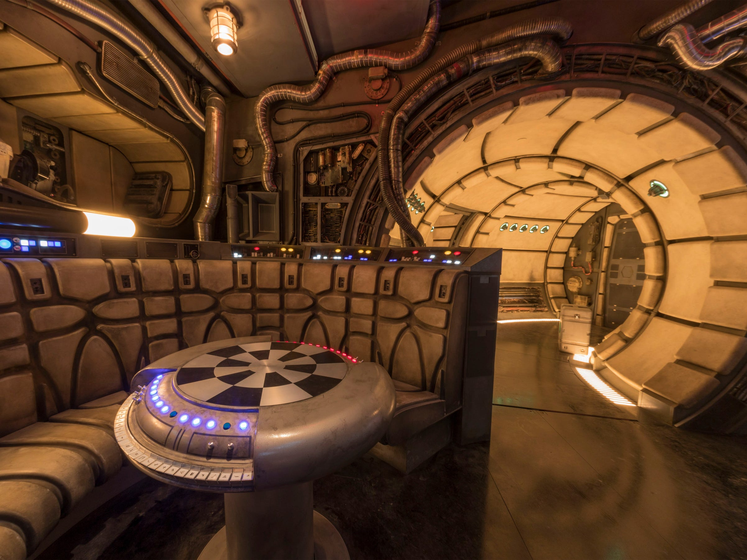 "The famous ""chess room"" is one of several areas Disney guests will discover inside Millennium Falcon: Smugglers Run at Star Wars: Galaxy's Edge before taking the controls in one of three unique and critical roles aboard the fastest ship in the galaxy."