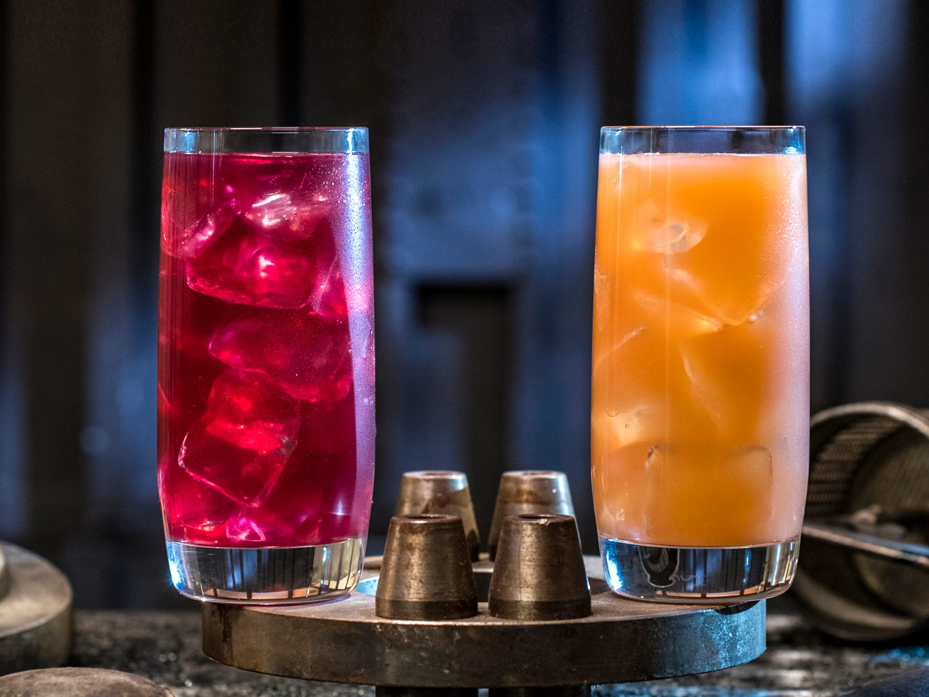 Left to right, non-alcoholic beverages: the Phattro and Moof Juice can be found at Docking Bay 7 Food and Cargo inside Star Wars: Galaxy's Edge.