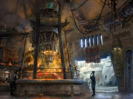 At Rondo Roasters in Star Wars: Galaxy's Edge, exotic meats will be fired up by a recycled podracing engine.