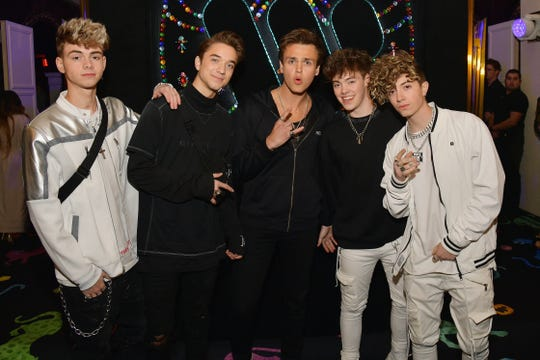 Why Don't We attend the Warner Music Pre-Grammy Party at the NoMad Hotel on February 7, 2019 in Los Angeles.