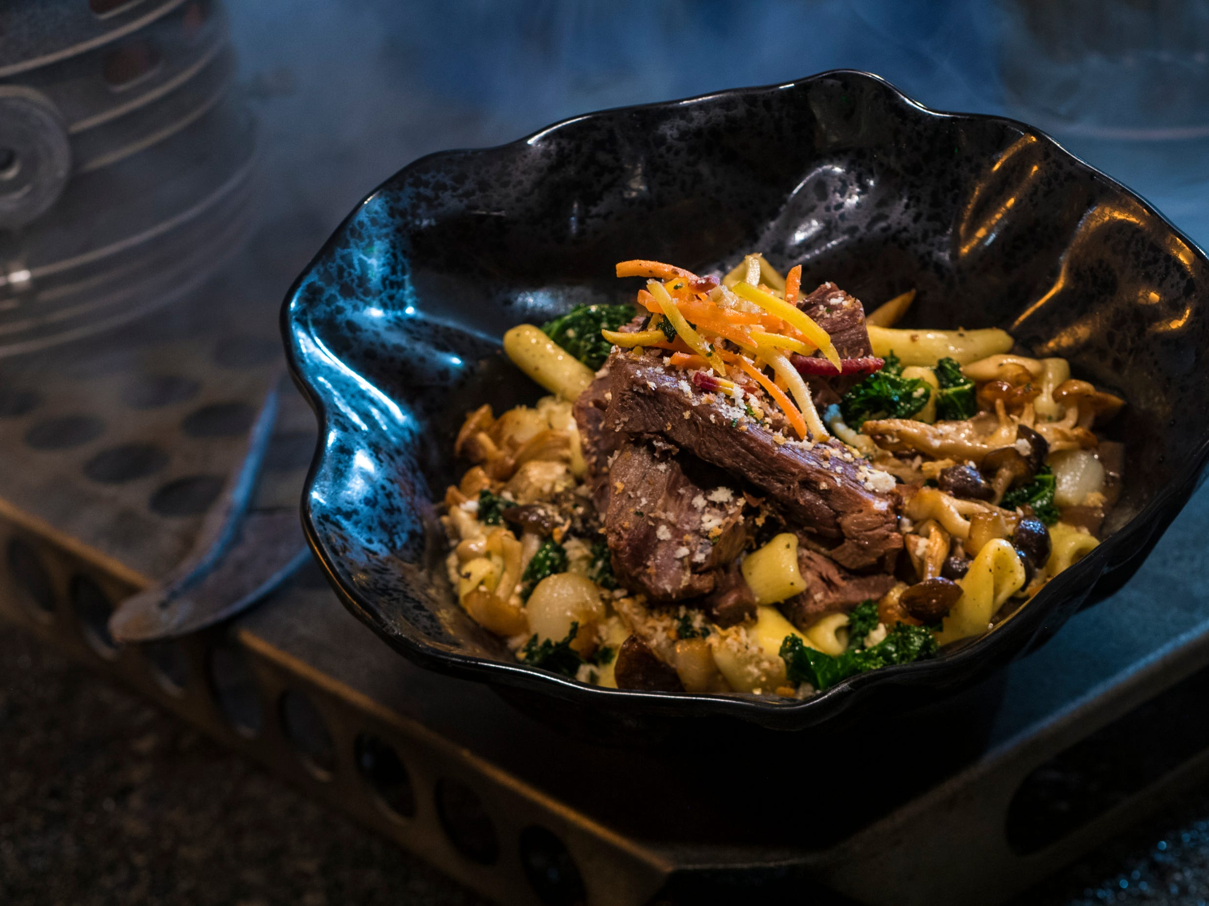 The Braised Shaak Roast, found at Docking Bay 7 Food and Cargo inside Star Wars: Galaxy's Edge, features beef pot roast with cavatelli pasta, kale and mushrooms.