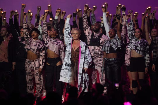 Pink performs at the BRIT Awards 2019 ceremony in London on February 20, 2019.