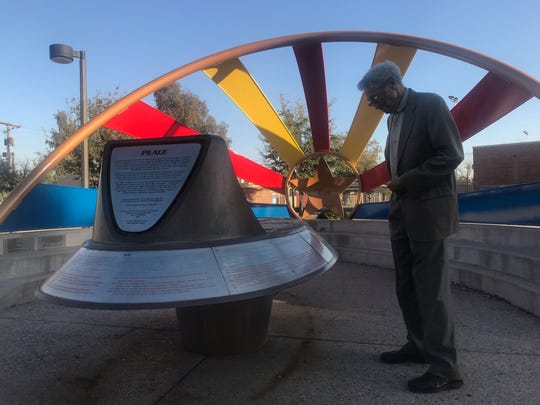 Calvin Goode looks at the civil rights monument at Eastlake Park on Wednesday, Feb. 27, 2019.