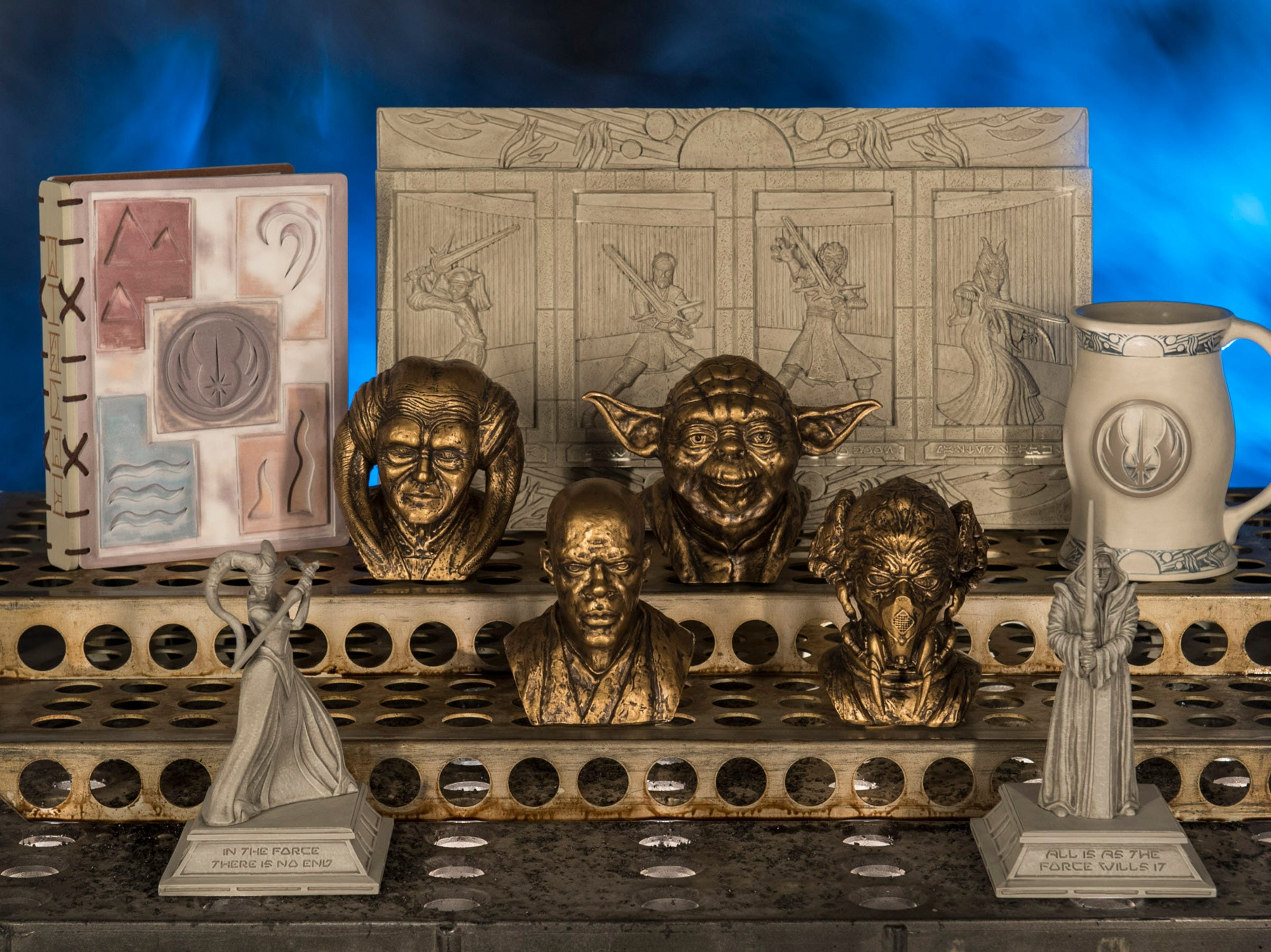 Disney guests will find rare and unique items at Dok-Ondar's Den of Antiquities in Star Wars: Galaxy's Edge, including the pictured Jedi artifacts.