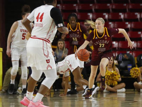 Courtney Ekmark (22) has started 61 consecutive games for ASU women's basketball since transferring from Connecticut. She is playing her final home games this weekend.