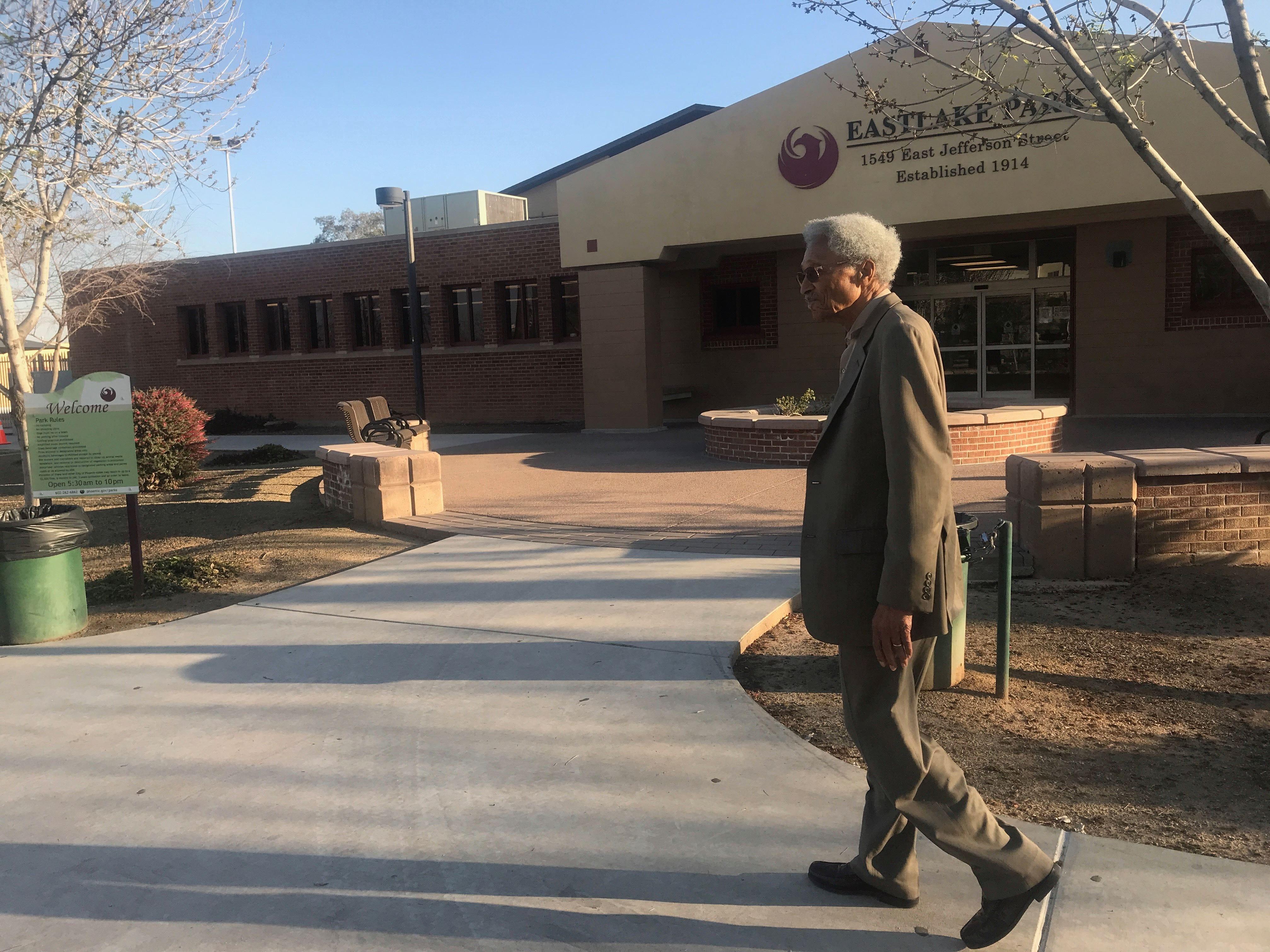 Calvin Goode walks through Eastlake Park on Wednesday, Feb. 27, 2019.