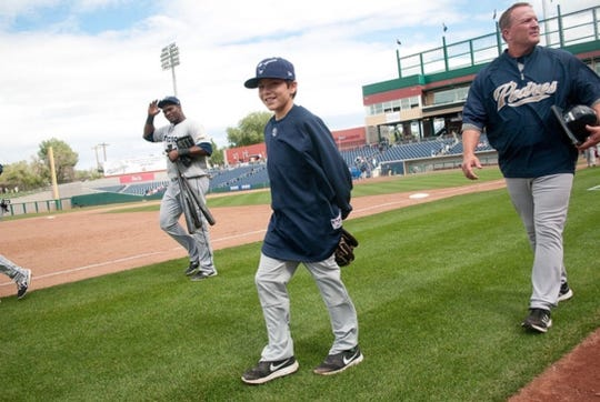 Kai Murphy is seen with his father Pat Murphy during his time with the San Diego Padres.