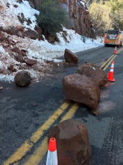 Rocks block part of State Route 89A near Slide Rock State Park north of Sedona, Feb. 27, 2019.