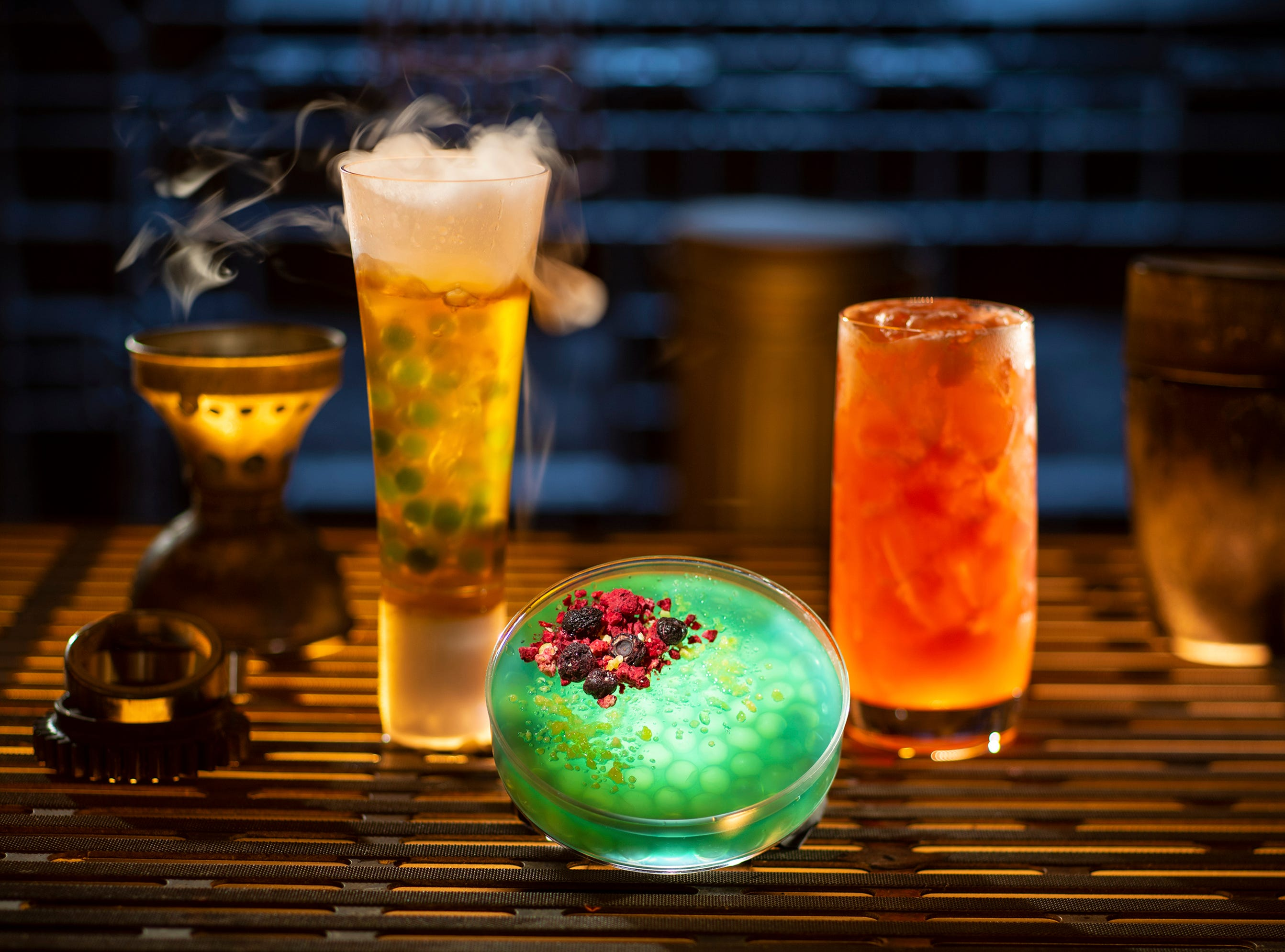 Left to right, non-alcoholic drinks: Carbon Freeze, Oga's Obsession provision and Cliff Dweller can be found at Oga's Cantina inside Star Wars: Galaxy's Edge.