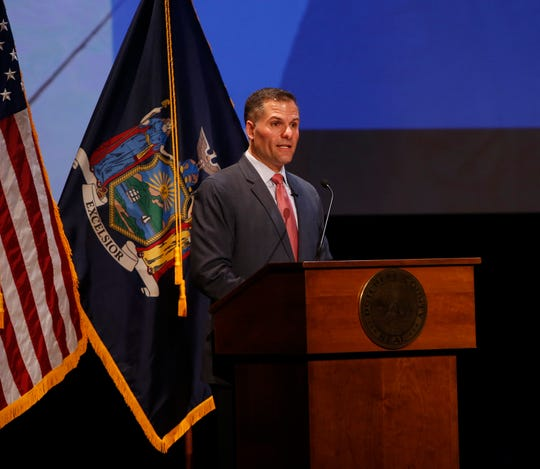 Dutchess County Executive Marc Molinaro delivers the State of the County address at the Culinary Institute of America in Hyde Park on February 27, 2019.