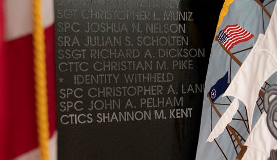 Shannon Kent's name engraved in the National Cryptologic Memorial.