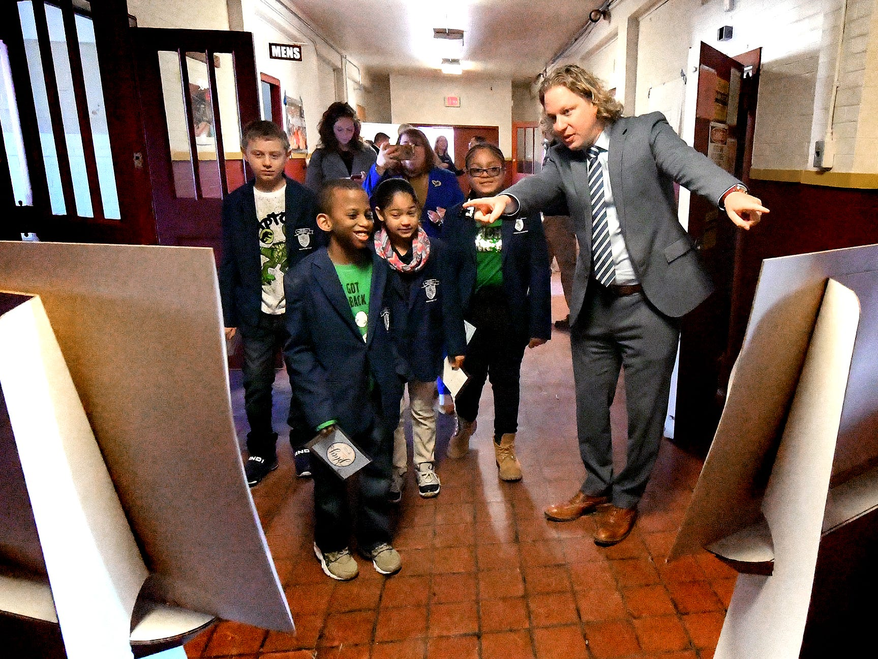 York County Economic Alliance CEO Kevin Schreiber tours the York Armory with Lincoln Charter School ambassadors during a press event there Thursday, Feb. 28, 2019. Keystone Kidspace founders announced the launch of a $6 million capital campaign to transform the former armory building into an experiential learning center. Construction is slated to start this summer with an opening date of summer 2020. Bill Kalina photo