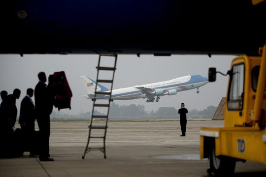 Air Force One with President Donald Trump aboard takes off at Nom Bar International Airport in Hanoi, Vietnam, Thursday, Feb. 28, 2019, to travel to Washington.