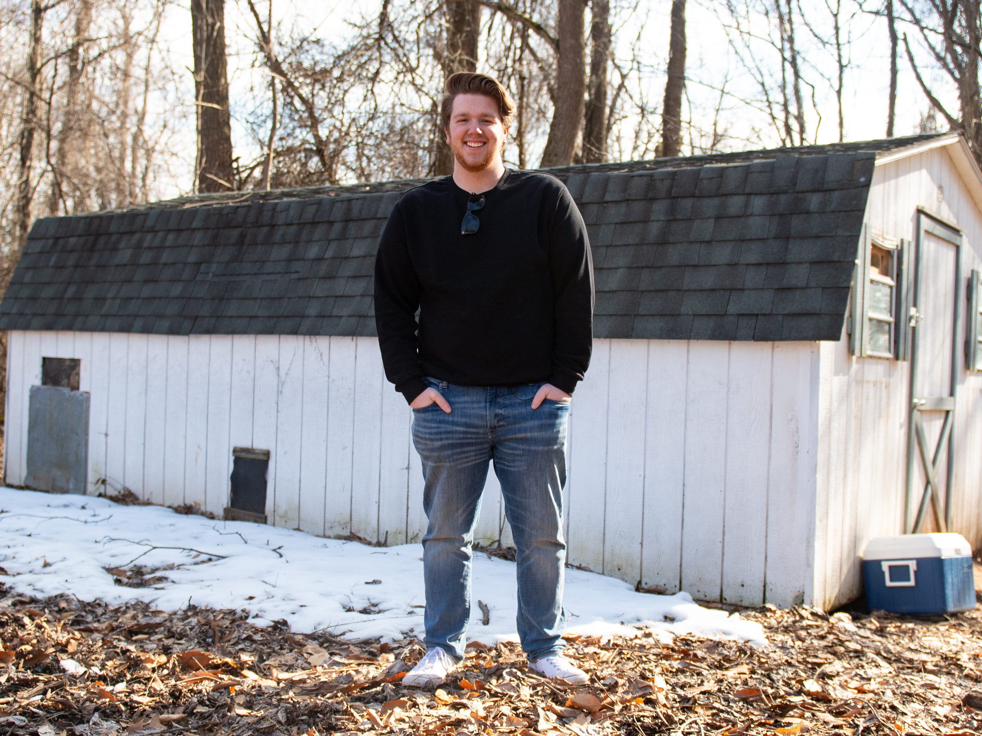 """Jake Puliti, an """"American Idol"""" hopeful from Newberry Township, does the majority of his singing in a converted chicken coop, which he and three of his friends call """"Crooked Coop Records."""""""