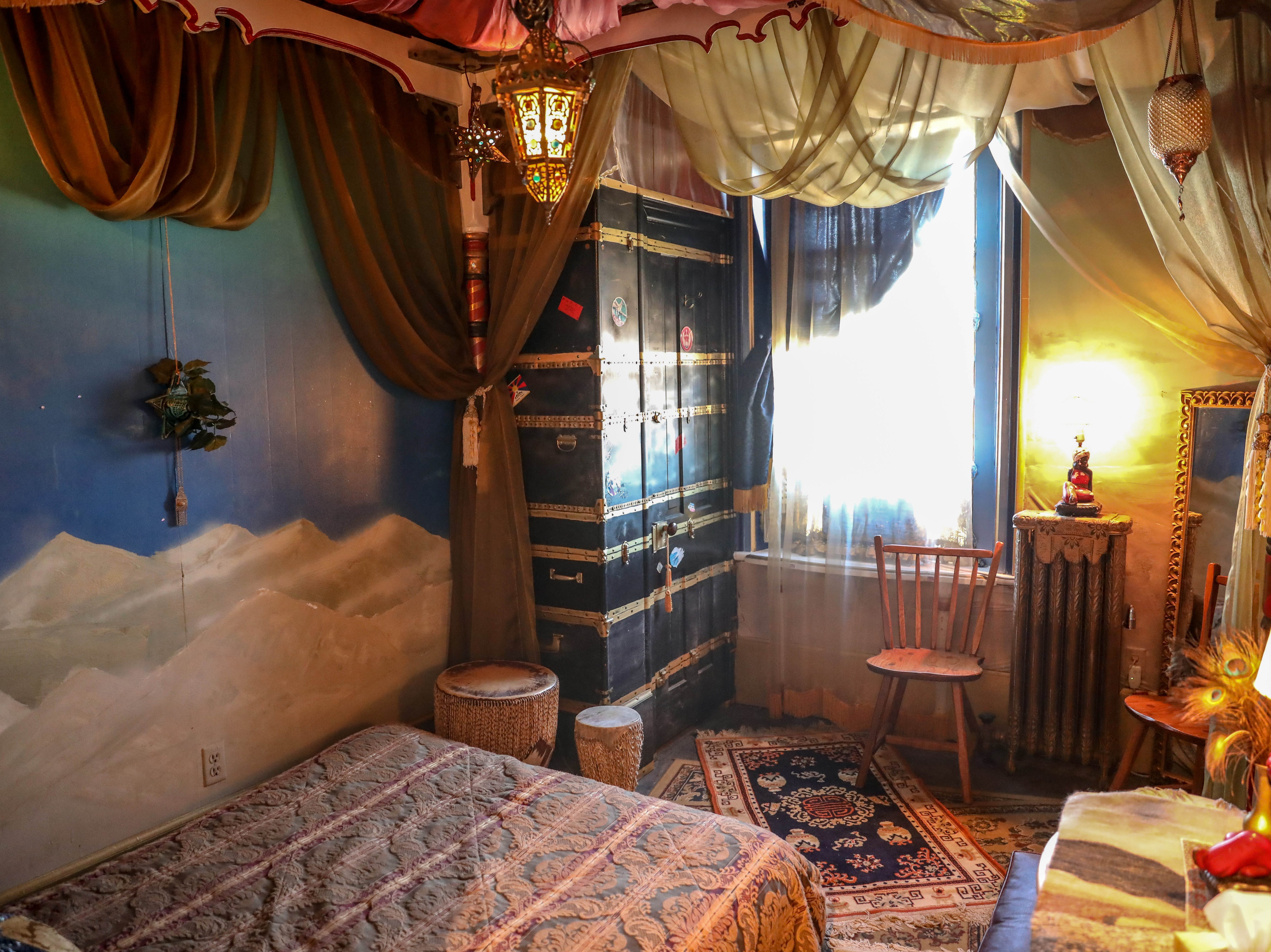 """Inside the """"Moroccan"""" room at Bube's Brewery. The third floor of the Victorian hotel is home to 8 speciality themed rooms and the """"grand suite."""""""