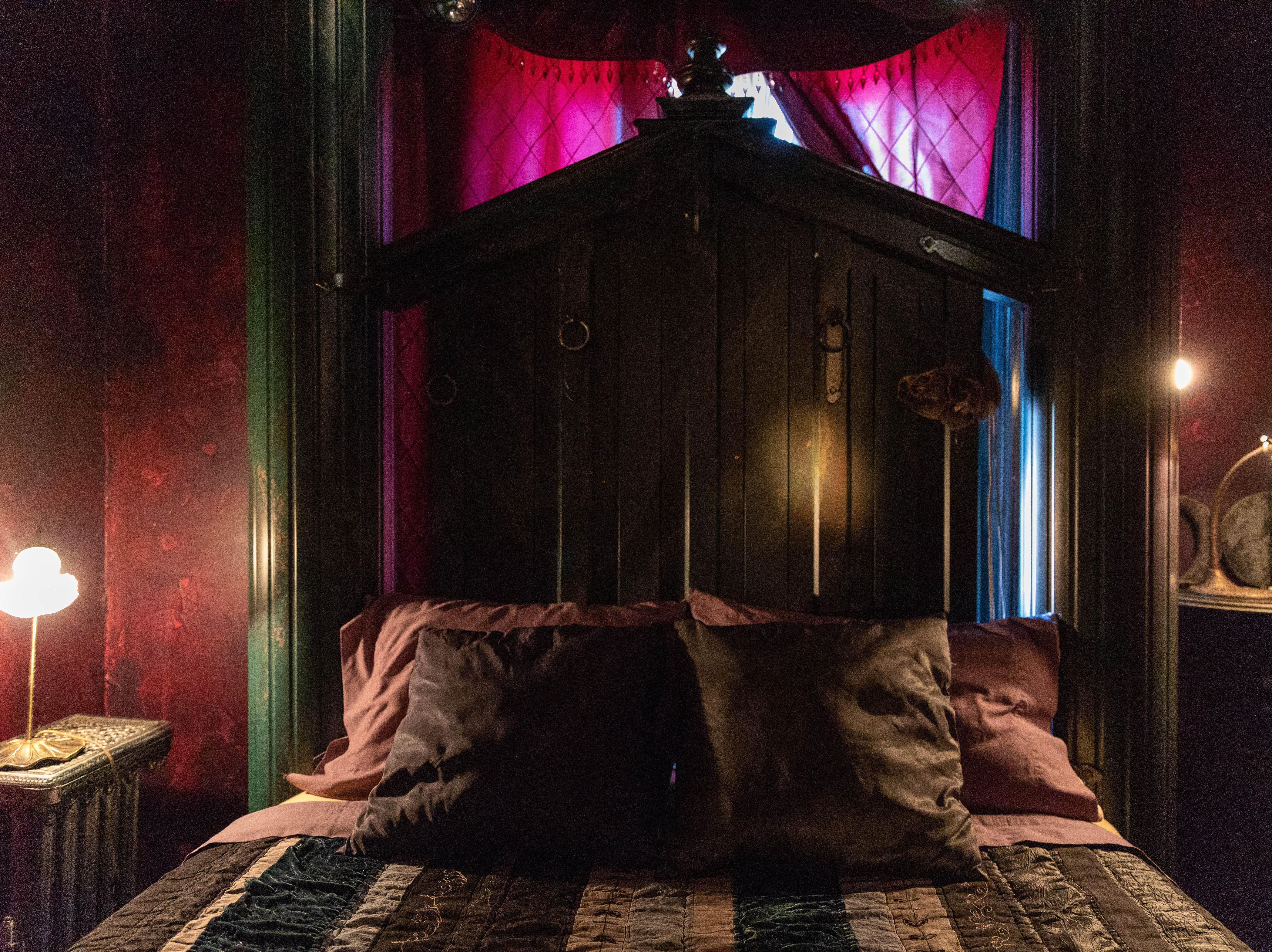 """Inside the """"Dark Princess"""" room at Bube's Brewery. The third floor of the Victorian hotel is home to 8 speciality themed rooms and the """"grand suite."""""""