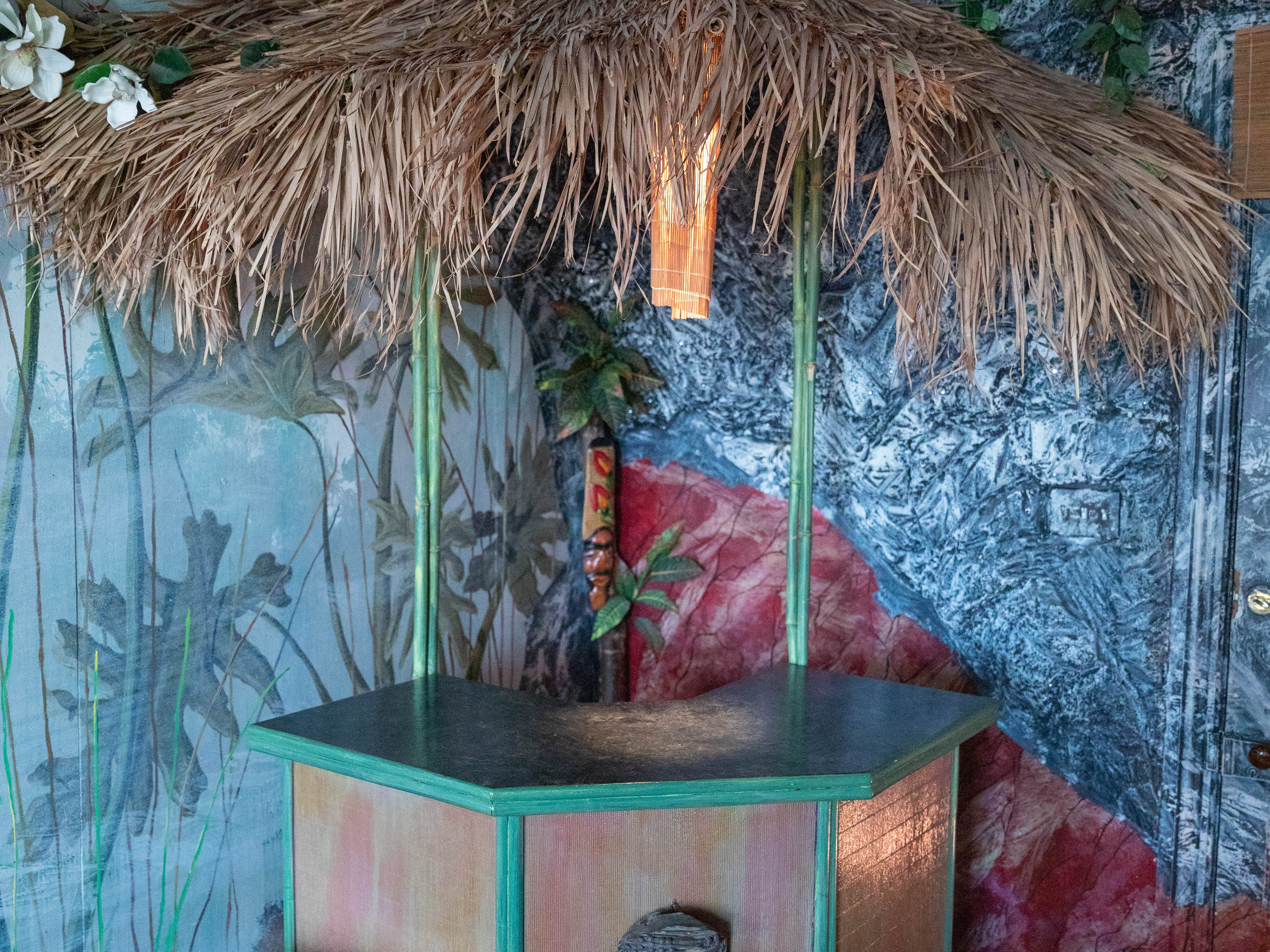 """The tiki bar inside the """"Jungle"""" room at Bube's Brewery in Mt. Joy."""
