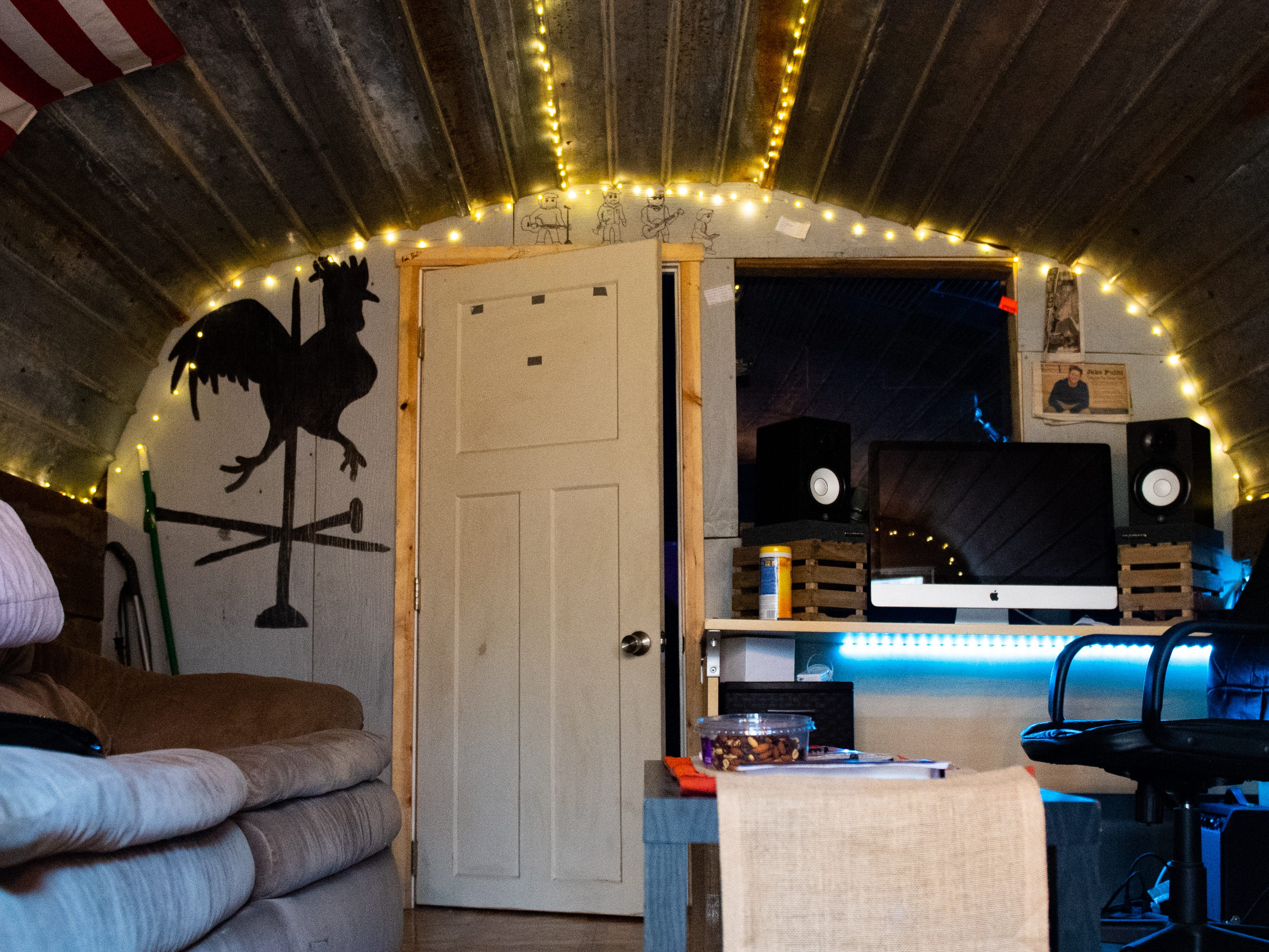 """Inside of """"Crooked Coop Records,"""" Jake Puliti and his friends have a cozy nook in which to write and record music. Puliti is an """"American Idol,"""" hopeful, and his audition is scheduled to air on the show on March 10."""