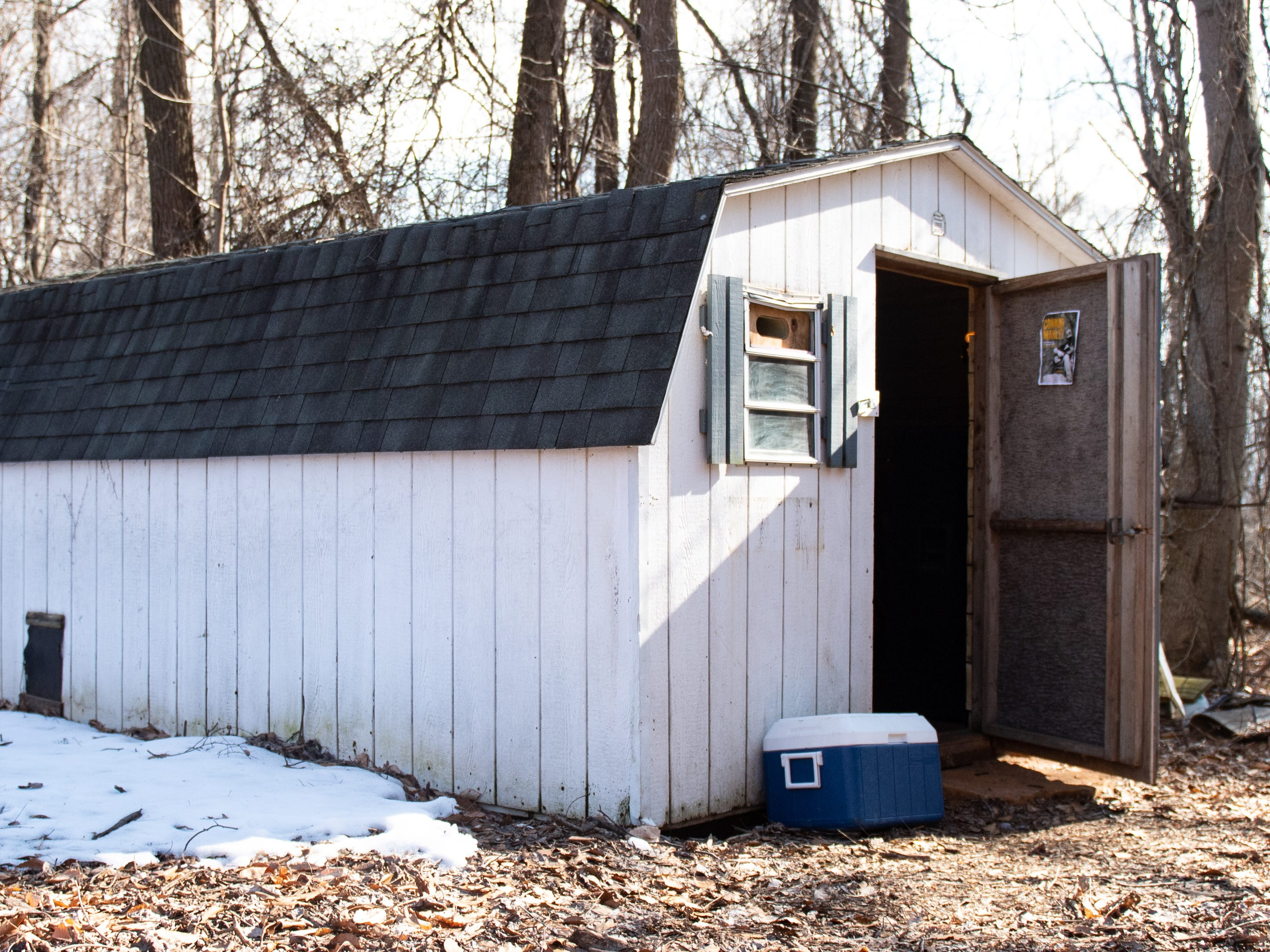 """""""American Idol"""" hopeful Jake Puliti and his three friends, Connor Manley, Grant Moore and Weston Branter, converted the inside of this chicken coop in Newberry Township into a music studio. It now houses everything the musicians need to hone their craft."""