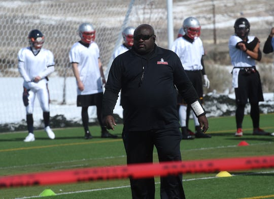 Anthony Bartley, general manager/head coach of the Reno Express indoor football team, runs practice at Golden Eagle Regional Park in Reno on Feb. 23, 2019.