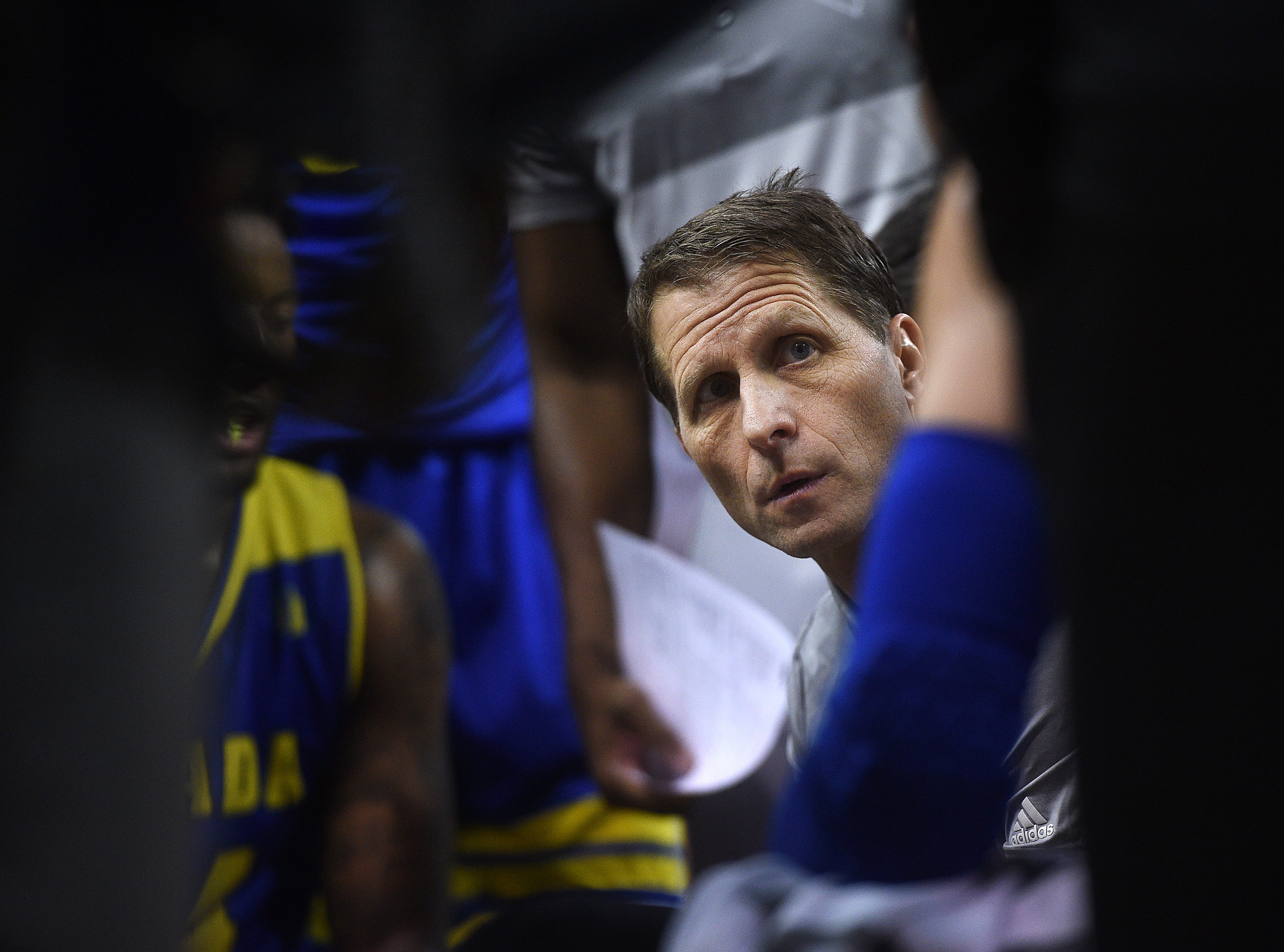 Nevada head coach Eric Musselman conducts a time out while taking on UNLV during their basketball game at Lawlor Events Center in Reno on Feb. 27, 2019.