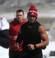 Savon Moniz of the new Reno Express indoor football team runs during practice at Golden Eagle Regional Park in Reno on Feb. 23, 2019.