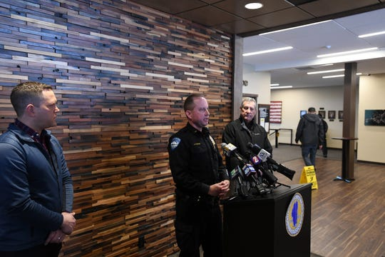 South Lake Tahoe Spokesperson Chris Fiore (left), police Lt. David Stevenson (center) and Director of Public Works Ray Jarvis (right) give an update on Feb. 28 on an incident where a city plow struck a vehicle buried in snow with a woman trapped inside.