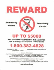 Reward money has been offered for information leading to the conviction of the person who set five fires Feb. 23.