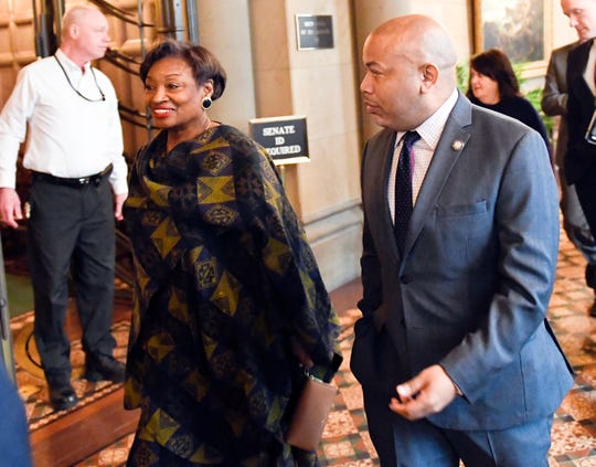 Senate Majority Leader, Andrea Stewart-Cousins, D-Yonkers, left, and Assembly Speaker Carl Heastie, D-Bronx, walk past the Senate Chamber while heading to a meeting with New York Gov. Andrew Cuomo at the state Capitol Monday, Feb. 11, 2019, in Albany, N.Y.