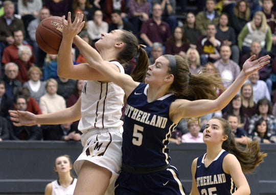 """Pittsford Mendon's Alana Fursman, left, draws a foul on Pittsford Sutherland's Elle Pestorius during the Rainbow Classic at the University of Rochester on Friday, Jan. 19, 2018. Fursman said playing before the capacity crowd that the game attracts is """"breathtaking."""""""