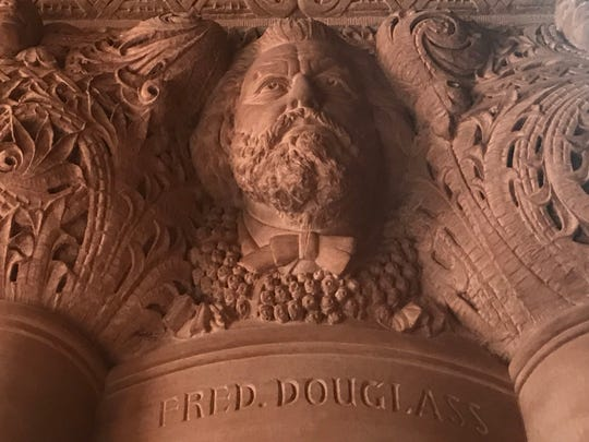 A newly corrected carving of Frederick Douglass in the New York State Capitol's Million Dollar Staircase on Thursday, Feb. 28, 2019
