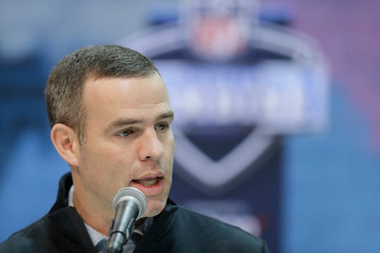 Buffalo Bills general manager Brandon Beane speaks during a press conference at the NFL football scouting combine.