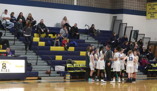 Crowds can sometimes be sparse at high school girls basketball games since they often play at the same time as the boys teams.  This game between Brockport and Greece Athena  was at Spencerport High School during a weekend tournament.