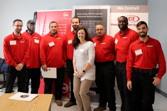 October 2018 Isaac University Boot Camp Class #8 graduates and their recruiter (from left): Bruce Howell, Juman Shackelford, Travis Herold, Corey Capstraw, Jessica Graham, Chris Young, Davonte McClary, Anthony Fico (not pictured, Zachary Brock).